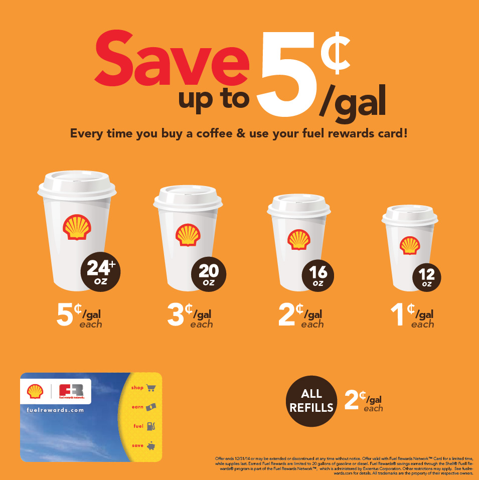 Save up to 5 cents per gallon when you buy a coffee